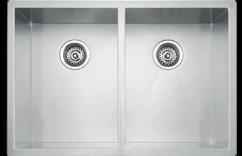 Large double bowl square undermount kitchen sink