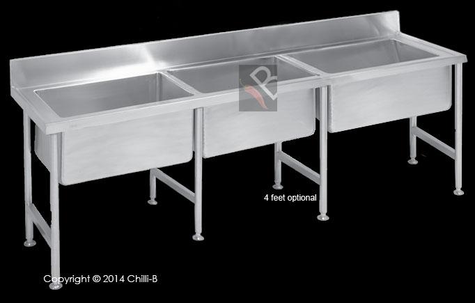 Stainless steel triple bowl pot sink
