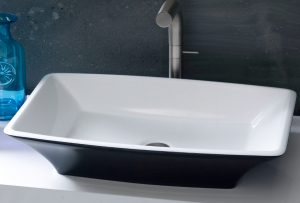 Ravello free stainding black coloured stone bathroom basin