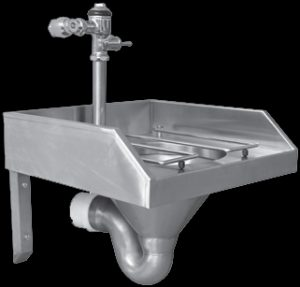 Slop hopper with stainless steel p-trap