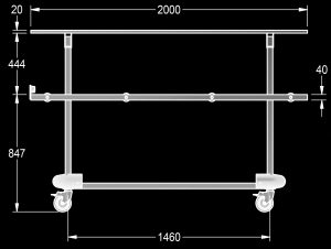 Mortuary body rapid transfer trolley with cover diagram