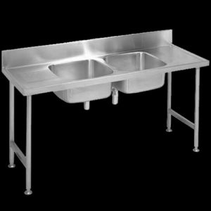 Double bowl stainless steel catering sink