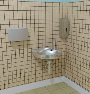 Installation sample of hands free washing basin for the food industry
