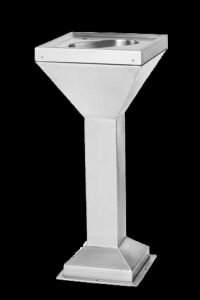 Stainless steel drinking fountain without taps or plumbing