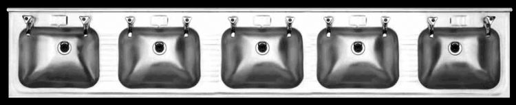 Five bowl once piece stainless steel basin