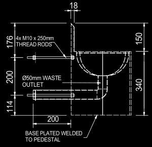 Franke HDSSB heavy duty prison basin measurements