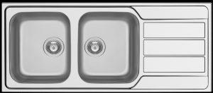 Athena 1160 mm double bowl symmetrical kitchen sink