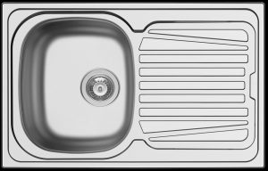 Small single bowl kitchen sink with drain board for kitchenettes