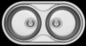 Stainless steel double bowl inset prep bowls for small kitchens