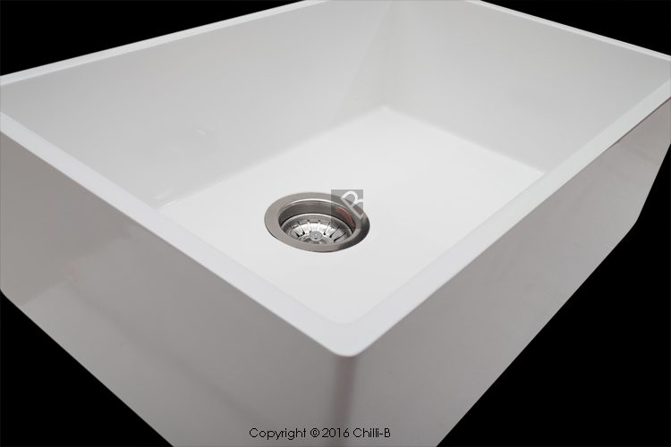 Single white composite butler sink 600x400x200 mm