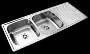 Large double deep bowl kitchen sink