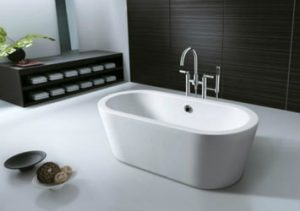 Aruba single mould acrylic free standing bath Chilli-B on special