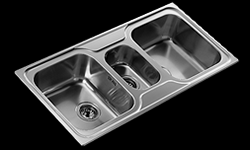 TE-10119080 Triple bowl inset kitchen sink no drainer