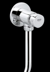 Exposed urinal flush valve with push button