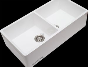 Smooth engineered stone white double butler sink