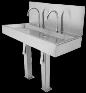 2 bay hands free wash basin