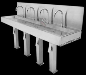 Knee operated hands free wash basin - 4 bay - made from stainless steel