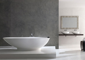 Napoli Egg Shaped Freestanding bath with matching basins