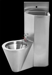 Stainless steel prison toilet and basin combination