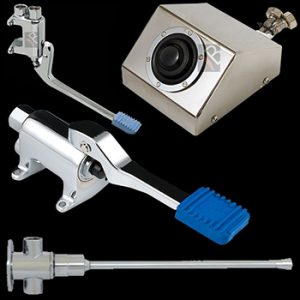 Foot valves and knee valves for hands free washing