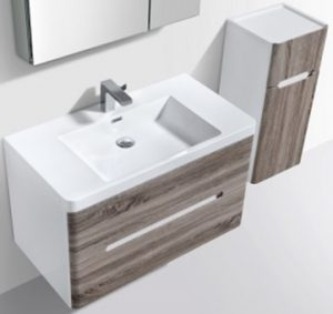 Venice vanity and side cabinet in silver oak