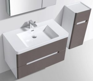 Venice vanity and side cabinet in grey gloss