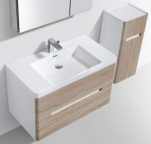 Venice vanity and side cabinet in white oak