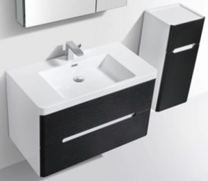 modern dark black wall hung bathroom vanity