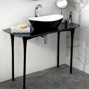 Amalfi black free standing stone basin