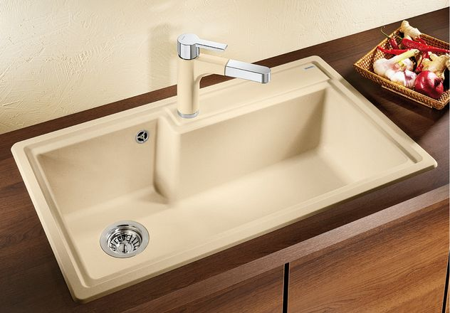 Blanco Plenta. Ideal single bowl kitchen sink for sculleries. The large single bowl will handle most pots and pans, even a couple of grill trays that are always difficult to clean. And if you must, you can also wash your small dog in it.