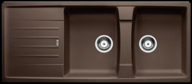 Brown double bowl kitchen sink