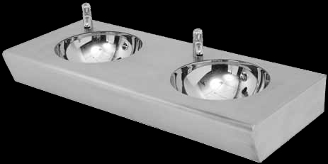 Stainless steel double wall hung basin for shopping malls