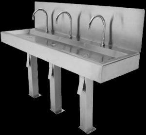 Custom hands free basin with three bays and splashback
