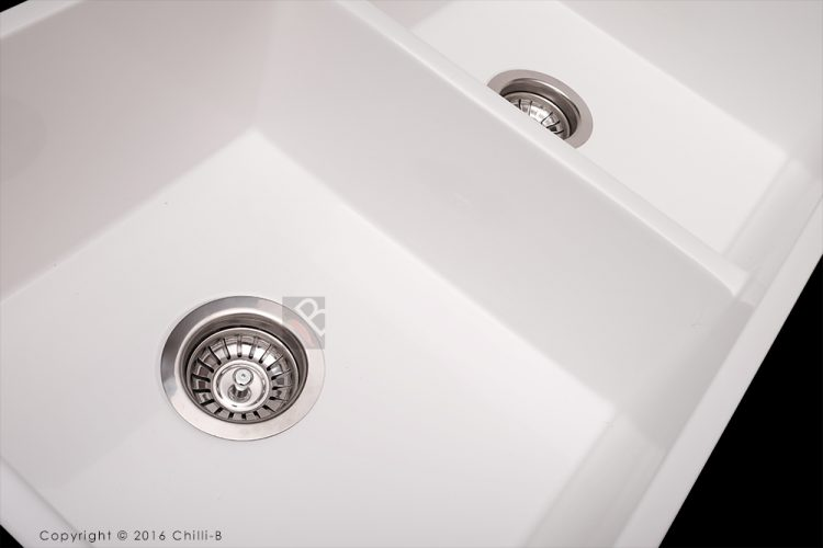 Double white butler sink close up