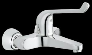 Elbow action wall mounted medical mixer