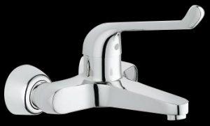 Elbow action wall mounted medical mixer