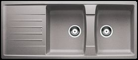 Modern grey double bowl kitchen sink
