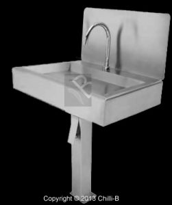 Custom hands free basin single bay and splashback