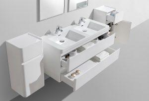 Milan 1200 wall hung vanity drawers