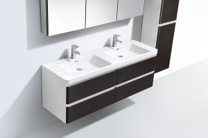 Chestnut veneer bathroom vanity