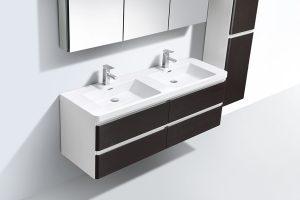 Chestnut veneer bathroom vanity