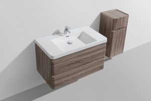 Milan 900 wall hung bathroom vanity with drawers and cabinet