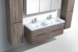 venice silver oak veneer wall hung vanity bathroom