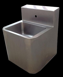 Stainless steel prison basin with splashback