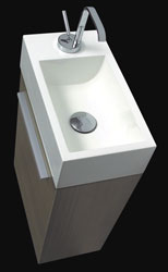 Small bathroom vanity and basin