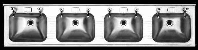 WB004 wall mounted four basin unit