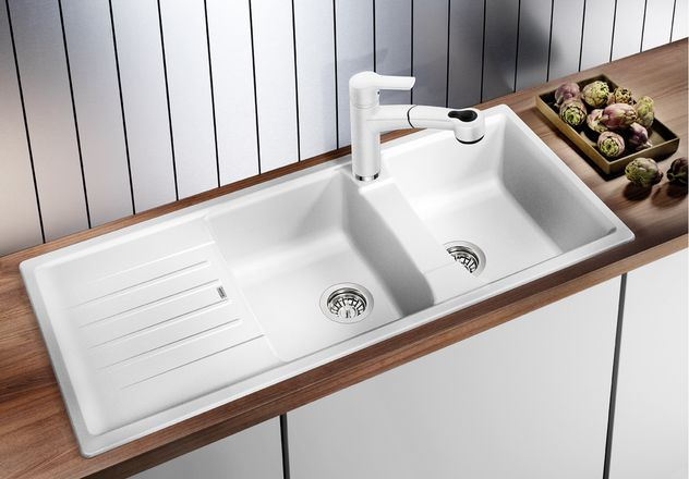 White double bowl kitchen sink lifestyle