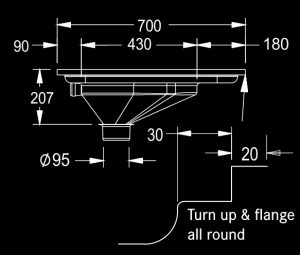 Prison type squat pan with flange