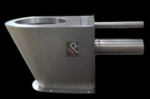 Stainless steel prison toilet pan with extended inlet and outlet