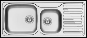Amaltia Plus double bowl modern kitchen sink left hand bowls